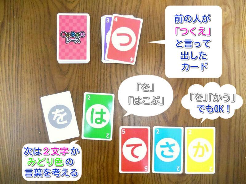 「を」のカードの使い方